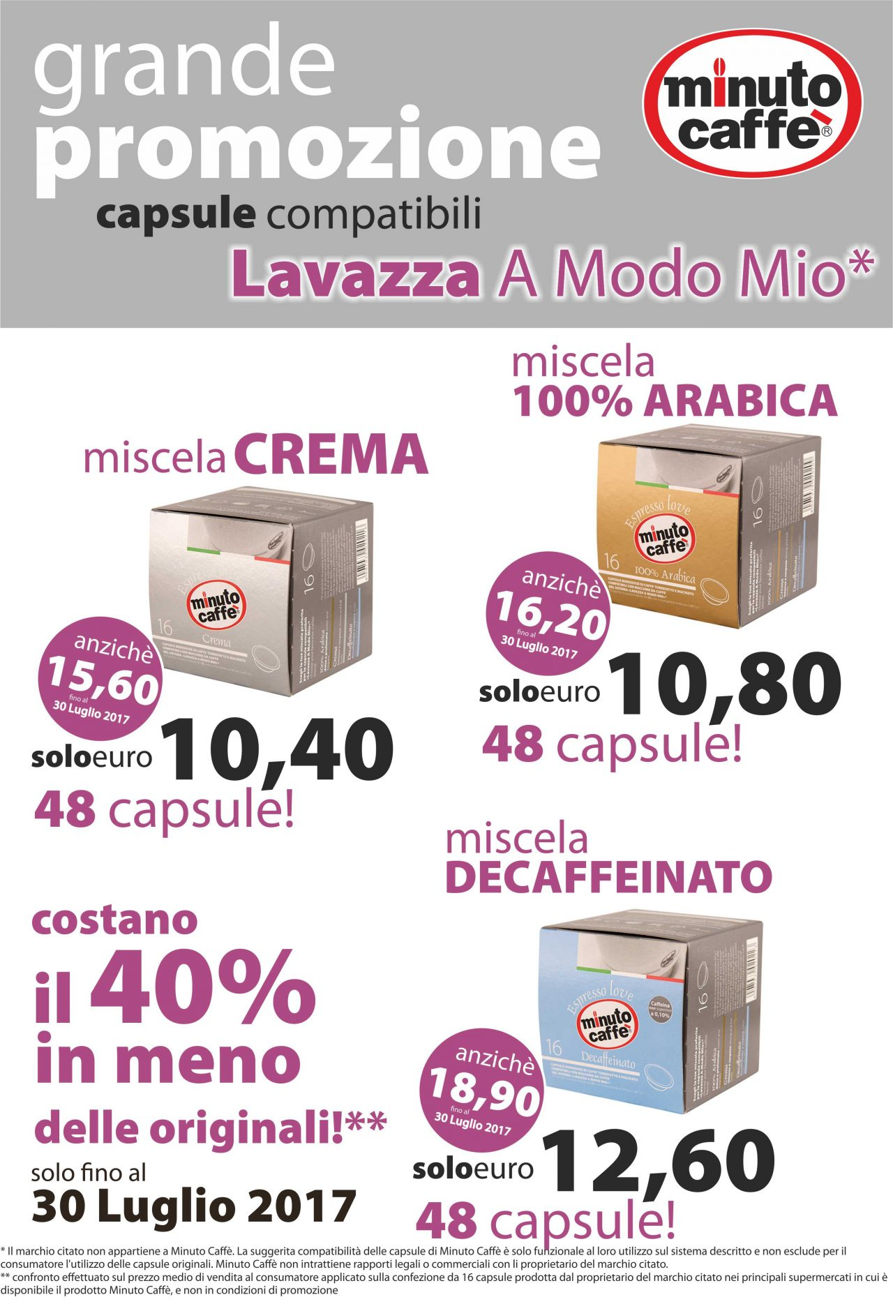 Grande promozione sulle capsule compatibili Lavazza A Modo Mio - Minuto Caffè